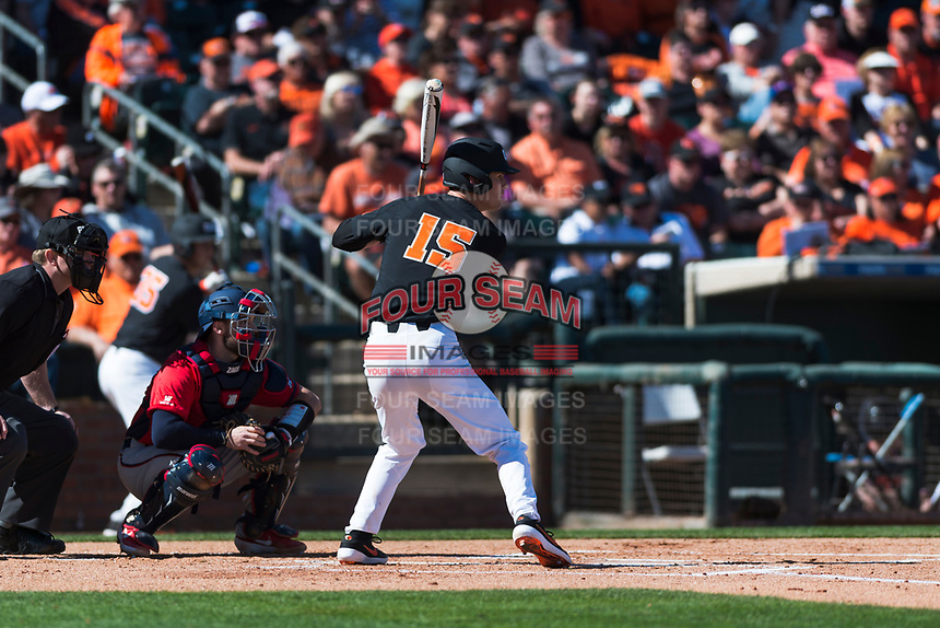 Oregon State Beavers third baseman Jake Dukart (15) at bat during a game against the Gonzaga Bulldogs on February 16, 2019 at Surprise Stadium in Surprise, Arizona. Oregon State defeated Gonzaga 9-3. (Zachary Lucy/Four Seam Images)