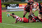 Walter Fifita stretches out to score Karaka's second try. Counties Manukau Premier Club Rugby game between Papakura and Karaka played at Massey Park Papakura on Saturday May 5th 2018. Papakuar won the game 28 - 25 after trailing 6 - 12 at halftime.<br /> Papakura - Faalae Peni, Darryl Hemopo, George Crichton, Federick Cain tries, Faalae Peni conversion; Faalae Peni 2 penalties, Karaka -Salesitangi Savelio, Cardiff Vaega, Walter Fifita tries, Juan Benadie 2 conversions, Juan Benadie 2 penalties.<br /> Photo by Richard Spranger.