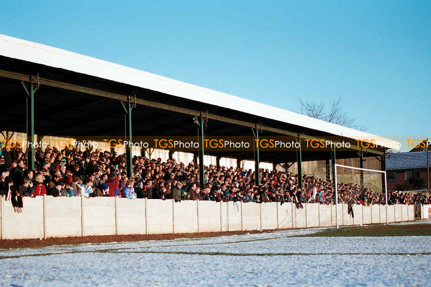 Covered terracing at Bromsgrove Rovers FC Football Ground, Victoria Ground, Bromsgrove, Worcestershire, pictured on 2nd January 1995