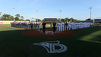 General view of the national anthem before a game between the Clearwater Threshers and Dunedin Blue Jays  on April 10, 2015 at Florida Auto Exchange Stadium in Dunedin, Florida.  Clearwater defeated Dunedin 2-0.  (Mike Janes/Four Seam Images)
