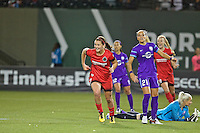 Portland, Oregon - Sunday April 17, 2016: Portland Thorns FC midfielder Lindsey Horan (7) celebrates scoring. The Portland Thorns play the Orlando Pride during a regular season NWSL match at Providence Park. The Thorns won 2-1.