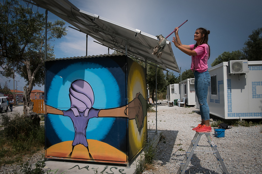 Mitch Moffit and Greg Brown, creators of ASAP Science YouTube Channel visit Kara Tepe Site on the Greek island of Lesvos, where hundreds of refugees are accommodated as they wait to their procedure. Volunteers cleaning solar panels used to provide electricity.