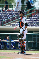 Jose Briceno (4) of the Inland Empire 66ers during a game against the Rancho Cucamonga Quakes at San Manuel Stadium on April 27, 2016 in San Bernardino, California. Rancho Cucamonga defeated Inland Empire, 2-1. (Larry Goren/Four Seam Images)