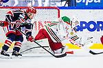 S&ouml;dert&auml;lje 2013-12-12 Ishockey Hockeyallsvenskan S&ouml;dert&auml;lje SK - Mora IK :  <br /> Mora m&aring;lvakt 35 Mantas Armalis r&auml;ddar ett skott<br /> (Foto: Kenta J&ouml;nsson) Nyckelord: