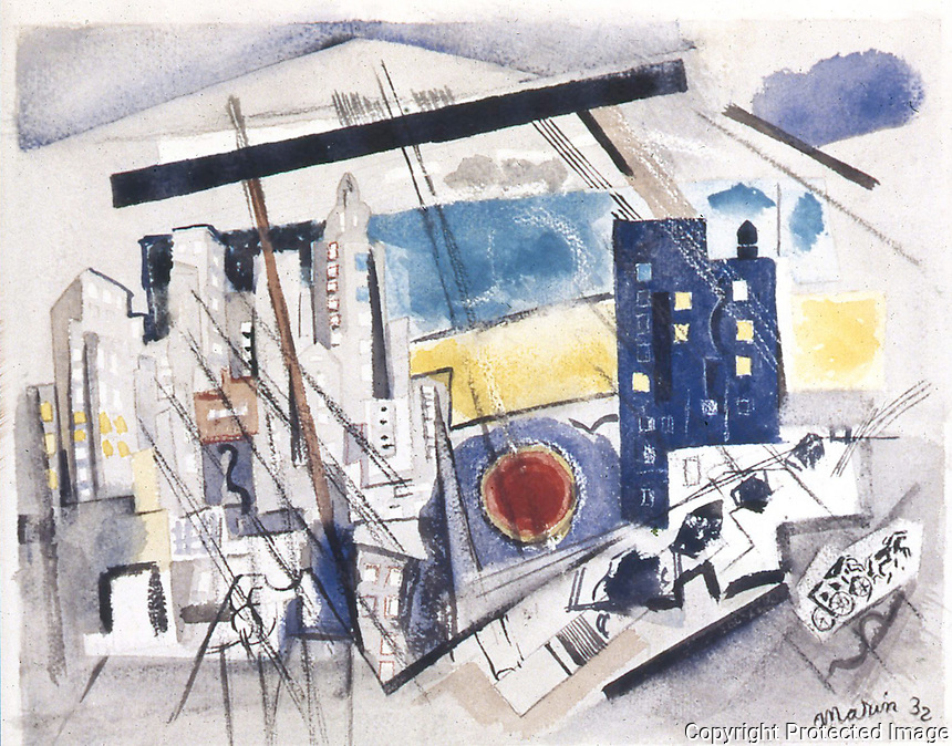 American Painters:  John Marin--Region of Brooklyn Bridge Fantasy, 1932.  Watercolor. Whitney Museum.