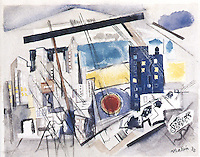 American Painters:  John Marin--Region of Brooklyn Bridge Fantasy, 1932.  Watercolor. Whitney Museum.