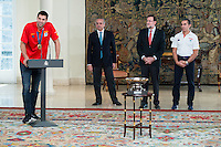 The reception of Prime Minister Mariano Rajoy to Spain national basketball team gold at EuroBasket 2015 at Moncloa Palace in Madrid, 21 September, 2015.<br /> Felipe Reyes, FEB President Jose Luis Saez, Prime Minister Mariano Rajoy and Coach Sergio Scariolo.<br /> (ALTERPHOTOS/BorjaB.Hojas) /NortePhoto.com