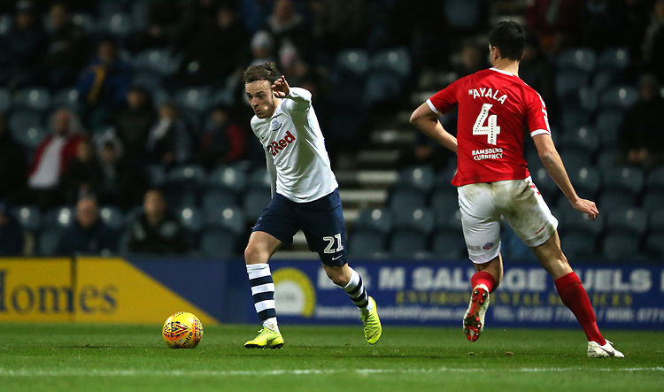 Preston North End's Brandon Barker<br /> <br /> Photographer Stephen White/CameraSport<br /> <br /> The EFL Sky Bet Championship - Preston North End v Middlesbrough - Tuesday 27th November 2018 - Deepdale Stadium - Preston<br /> <br /> World Copyright © 2018 CameraSport. All rights reserved. 43 Linden Ave. Countesthorpe. Leicester. England. LE8 5PG - Tel: +44 (0) 116 277 4147 - admin@camerasport.com - www.camerasport.com