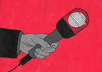 Speech bubble trapped in cage on microphone ExclusiveImage