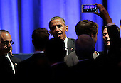 United States President Barack Obama (C) greets the crowd after speaking at a Democratic National Committee LGTB fundraiser at Gotham Hall in New York, New York, USA, 27 September 2015. <br /> Credit: Peter Foley / Pool via CNP