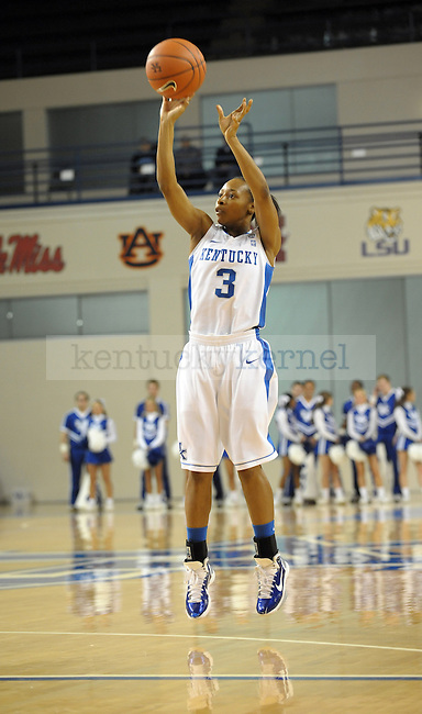 UK's Crystal Riley takes a jump shot during the first half of the University of Kentucky Women's basketball game against Alabama A&M at Memorial Coliseum in Lexington, Ky., on 12/18/10. Uk led at half 42-20. Photo by Mike Weaver | Staff