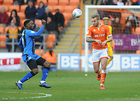 Blackpool's Nick Anderton vies for possession with Gillingham's Brandon Hanlan<br /> <br /> Photographer Kevin Barnes/CameraSport<br /> <br /> The EFL Sky Bet League One - Blackpool v Gillingham - Saturday 4th May 2019 - Bloomfield Road - Blackpool<br /> <br /> World Copyright © 2019 CameraSport. All rights reserved. 43 Linden Ave. Countesthorpe. Leicester. England. LE8 5PG - Tel: +44 (0) 116 277 4147 - admin@camerasport.com - www.camerasport.com