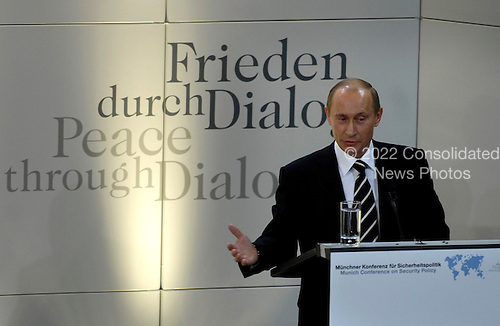 """Russian president Vladimir Putin delivers his remarks about """"Russia's Role in World Politics"""" during the 43rd Annual Conference on Security Policy in Munich, Germany, Feb. 10, 2007.  The theme for the conference is """"Global Crisis-Global Responsibilities.""""   Defense Dept. photo by Cherie A. Thurlby (released)"""