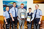 Jude Pierce and Ian Colman Horgan winners of achievement awards at the Garda Youth Achievement Award in Ballyroe Heights Hotel on Friday night. L to r: Gda Nicola Hogan, Damien O'Sullivan, Jude Pierse, Ian Coleman Horgan and Gda Lisa Kelly