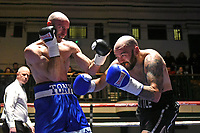 Danny Little (black shorts) defeats Tony Milch during a Boxing Show at York Hall on 10th February 2018