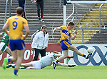 Eoin Cleary of Clare scores an early goal during their Munster championship quarter-final game against Limerick in Cusack park. Photograph by John Kelly.