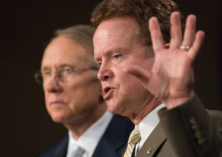 Senate Majority Leader Harry Reid, D-Nev., and Sen. Jim Webb, D-Va., hold their news conference on Iraq on Monday, July 9, 2007.