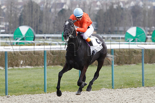 08.03.2016. Deauville, France.  3rd Race. De La Vie Claiming Stakes.  Kendannemarie with Marie Anne Bernadet wins the female jockey race