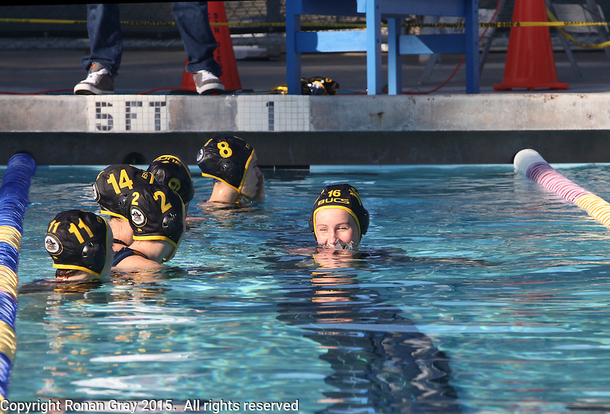 San Diego CA, USA.  Wednesday, 4th February 2015:  Mission Bay High School Lady Bucs Water Polo team play Clairemont High School at the Clairemont Recreation Center.