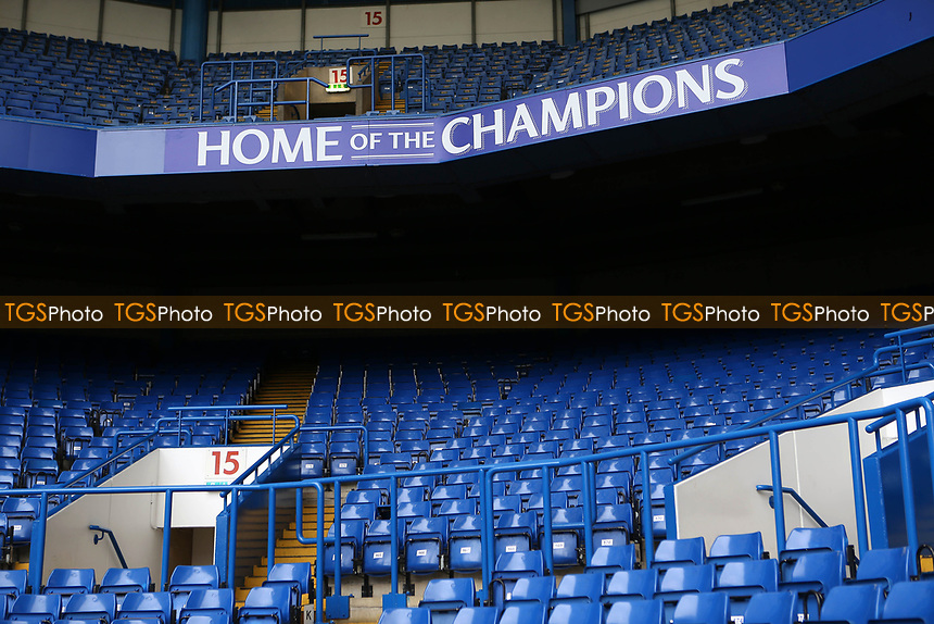 New signage 'Home of The Champions' on display inside the ground during Chelsea vs Watford, Premier League Football at Stamford Bridge on 15th May 2017