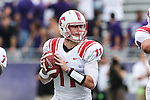 Southern Methodist Mustangs quarterback Garrett Gilbert (11) in action during the game between the SMU Mustangs and the TCU Horned Frogs at the Amon G. Carter Stadium in Fort Worth, Texas. TCU defeats SMU 48 to 17.