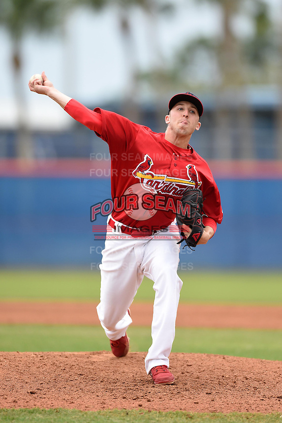 St. Louis Cardinals pitcher Corey Baker (18) during a minor league spring training game against the New York Mets on March 27, 2014 at the Port St. Lucie Training Complex in St. Lucie, Florida.  (Mike Janes/Four Seam Images)