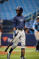 Osmy Gregorio (22) walks back to the dugout during the Tampa Bay Rays Instructional League Intrasquad World Series game on October 3, 2018 at the Tropicana Field in St. Petersburg, Florida.  (Mike Janes/Four Seam Images)