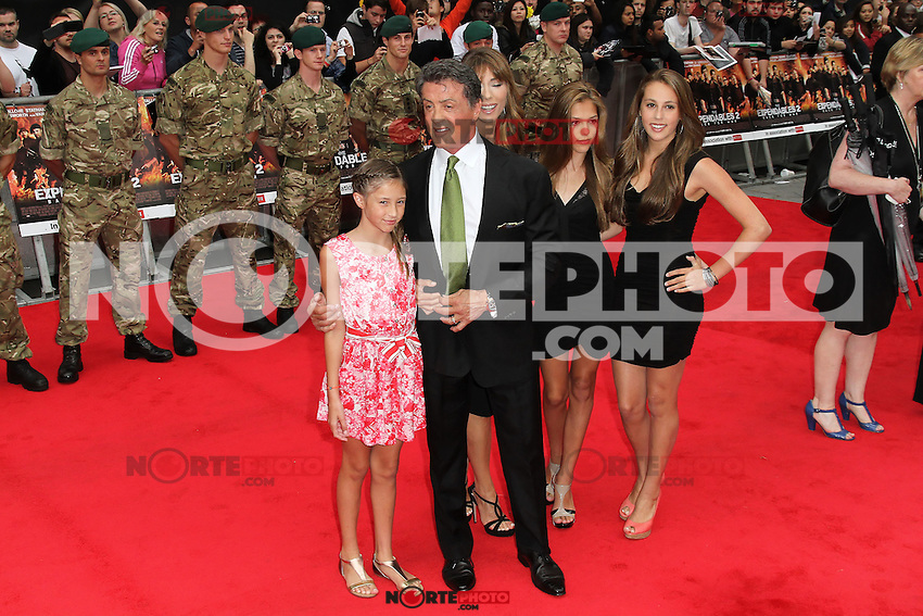 LONDON - AUGUST 13: Sylvester Stallone; Jennifer Flavin attended the UK Film Premiere of 'The Expendables 2', Leicester Square, London, UK. August 13, 2012. (Photo by Richard Goldschmidt) /NortePhoto.com<br /> <br />  **CREDITO*OBLIGATORIO** *No*Venta*A*Terceros*<br /> *No*Sale*So*third* ***No*Se*Permite*Hacer Archivo***No*Sale*So*third*