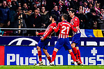 Diego Costa of Atletico de Madrid (L) celebrates his goal with his teammates during the La Liga 2018-19 match between Atletico Madrid and FC Barcelona at Wanda Metropolitano on November 24 2018 in Madrid, Spain. Photo by Diego Souto / Power Sport Images