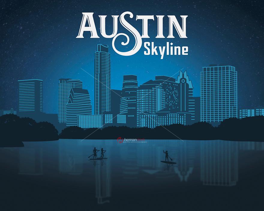 Austin Texas Skyline silhouette fine art print in blue.