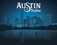 Austin Texas Skyline silhouette fine art print in blue.