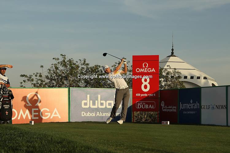 Michael Hoey drives at the 8th hole during the pro-am ahead of the 2012 Omega Dubai Desert Classic being played over the Majlis Course, Emirates Golf Club, Dubai, UAE from 9th to 12th February 2012: Picture, Stuart Adams, www.golftourimages.com