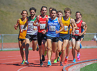 Action from the first lap of the men's 1500m final on day three of the 2015 National Track and Field Championships at Newtown Park, Wellington, New Zealand on Sunday, 8 March 2015. Photo: Dave Lintott / lintottphoto.co.nz