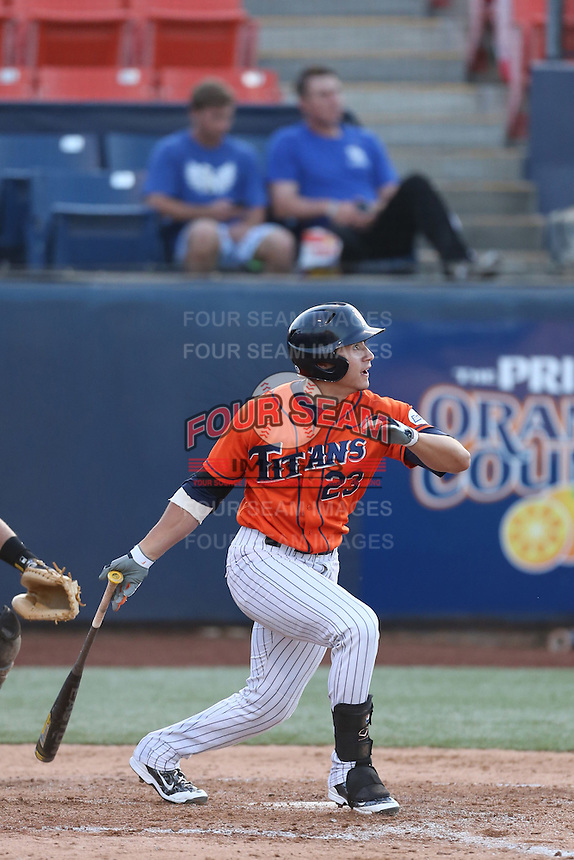 David Olmedo-Barrera (23) of the Cal State Fullerton Titans bats during a game against the Cal Poly Mustangs at Goodwin Field on April 2, 2015 in Fullerton, California. Cal Poly defeated Cal State Fullerton, 5-0. (Larry Goren/Four Seam Images)