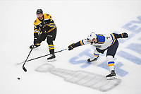 June 6, 2019: Boston Bruins defenseman Connor Clifton (75) and St. Louis Blues left wing Pat Maroon (7) battle for the puck during game 5 of the NHL Stanley Cup Finals between the St Louis Blues and the Boston Bruins held at TD Garden, in Boston, Mass. Eric Canha/CSM