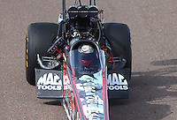 Feb 21, 2015; Chandler, AZ, USA; NHRA top fuel driver Steve Torrence during qualifying for the Carquest Nationals at Wild Horse Pass Motorsports Park. Mandatory Credit: Mark J. Rebilas-