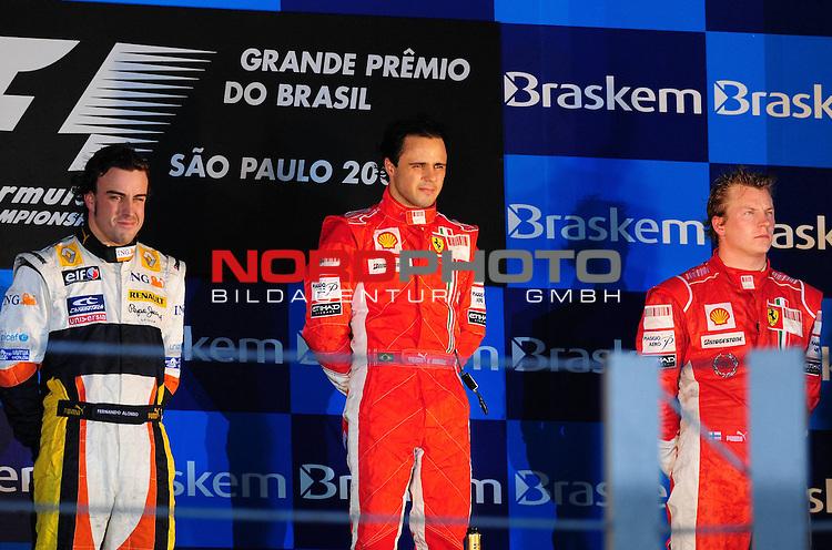 Podium - Fernando Alonso (ESP),  Renault F1 Team - Felipe Massa (BRA), Scuderia Ferrari - Kimi Raikkonen (FIN), Scuderia Ferrari