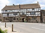 The George Inn, half timbered historic pub, Norton St Philip, Somerset, England, UK