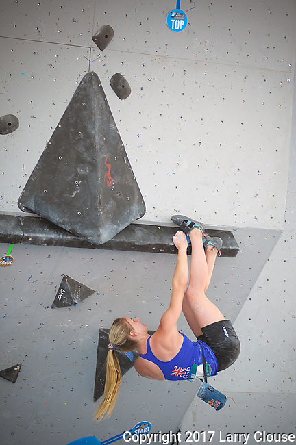 June 9, 2017 - Vail, Colorado, U.S. - Women's top ranked climber, Shauna Coxsey #1, solves a difficult problem during the GoPro Mountain Games, Vail, Colorado.  Adventure athletes from around the world meet in Vail, Colorado, June 8-11, for America's largest celebration of mountain sports, music, and lifestyle.