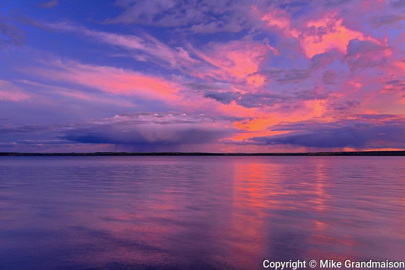Waskasiu Lake at sunset<br /> Prince Albert National Park<br /> Saskatchewan<br /> Canada