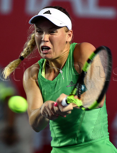 13.10.2016. Hong Kong, China.  Caroline Wozniacki of Denmark returns the ball during for womens  singles second round match against Heather Watson of Britain at the WTA Tennis Damen Hong Kong Open tennis tournament in Hong Kong, south China, Oct. 13, 2016. Wozniacki won 2-0.