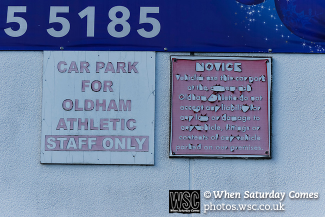 Faded signs at Boundary Park. Oldham v Portsmouth League 1
