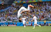 FUSSBALL WM 2014  VORRUNDE    GRUPPE G     Deutschland - Ghana                 21.06.2014 Miroslav Klose (Deutschland) bejubelt seinen Treffer zum 2:2 per Salto