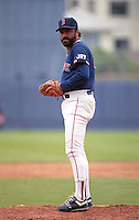 Boston Red Sox pitcher Jeff Reardon during Spring Training circa 1992 at Chain of Lakes Park in Winter Haven, Florida.  (MJA/Four Seam Images)