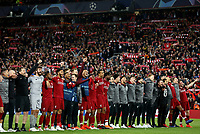 Liverpool players celebrate in front of their fans at the final whistle <br /> <br /> Photographer Rich Linley/CameraSport<br /> <br /> UEFA Champions League Semi-Final 2nd Leg - Liverpool v Barcelona - Tuesday May 7th 2019 - Anfield - Liverpool<br />  <br /> World Copyright © 2018 CameraSport. All rights reserved. 43 Linden Ave. Countesthorpe. Leicester. England. LE8 5PG - Tel: +44 (0) 116 277 4147 - admin@camerasport.com - www.camerasport.com