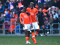 Blackpool's Viv Solomon-Otabor celebrates scoring his side's first goal with team-mate Armand Gnanduillet (R)<br /> <br /> Photographer Richard Martin-Roberts/CameraSport<br /> <br /> The EFL Sky Bet League One - Blackpool v Fleetwood Town - Saturday 14th April 2018 - Bloomfield Road - Blackpool<br /> <br /> World Copyright &not;&copy; 2018 CameraSport. All rights reserved. 43 Linden Ave. Countesthorpe. Leicester. England. LE8 5PG - Tel: +44 (0) 116 277 4147 - admin@camerasport.com - www.camerasport.com