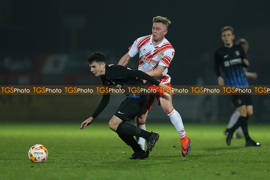 Mark McKee of Stevenage and Ben Dempsey of Charlton during Stevenage Youth vs Charlton Athletic Youth, FA Youth Cup Football at the Lamex Stadium on 15th November 2016