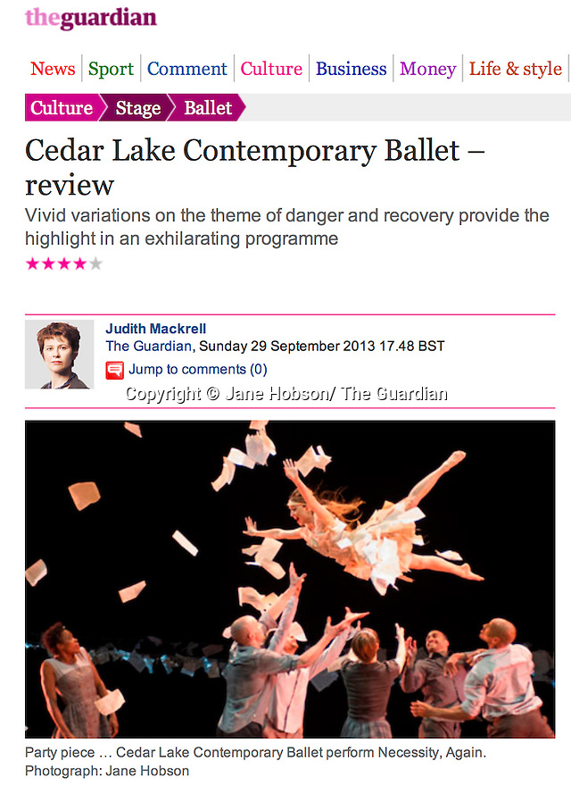 Cedar Lake Contemporary Ballet, Guardian 30.09.13.