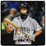 #OTD On This Day, May 5, 2017, SS Andres Gimenez (4) of the Columbia Fireflies played defense with a face covering on a cold night in a game against the Lakewood BlueClaws on Friday, May 5, 2017, at Spirit Communications Park in Columbia, South Carolina. Gimenez remains the New York Mets No. 5 prospect. (Tom Priddy/Four Seam Images) #MiLB #OnThisDay #MissingBaseball #nobaseball #stayathome #minorleagues #minorleaguebaseball #Baseball #SallyLeague #AloneTogether