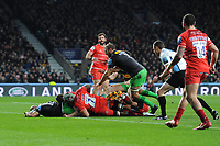 Paul Lasike of Harlequins forces his way through Jordan Taufua of Leicester Tigers to score a try during Big Game 12 in the Gallagher Premiership Rugby match between Harlequins and Leicester Tigers at Twickenham Stadium on Saturday 28th December 2019 (Photo by Rob Munro/Stewart Communications)